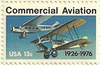 The Commercial Aviation Commemorative Stamp issued by the U.S. Post Office in 1976