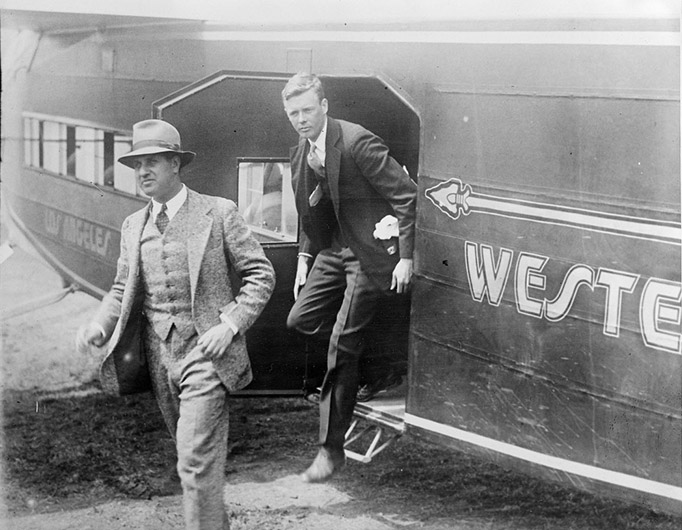 Harry Guggenheim and Charles Lindberg leaving New Western Air Express plane in 1928. Courtesy of the Boston Public Library, Leslie Jones Collection.