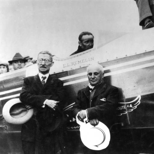 Ben Redman and J.A. Tomlinson pose at Salt Lake City before boarding Western Air Lines first passenger flight on May 23, 1926.
