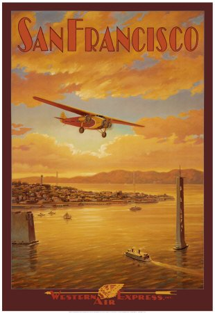Vintage Art Poster shows a Western Air Express plane flying over the location where the Golden Gate Bridge now stands.